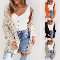Fashion Mixed Color Long Sleeve Knit Cardigan