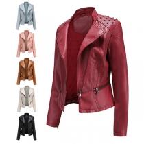 Punk Style Long Sleeve Lapel Rivets PU Leather Jacket