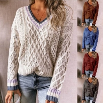 Fashion Contrast Color Long Sleeve V-neck Sweater