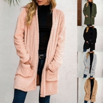Fashion Solid Color Long Sleeve Front-pocket Plush Cardigan