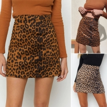 Sexy Leopard Printed High Waist Slim Fit A-line Skirt