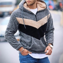 Fashion Contrast Color Long Sleeve Hooded Man's Plush Sweatshirt