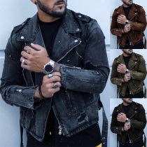 Slim Lapel Metal Zipper Long Sleeve Denim Coat for Men