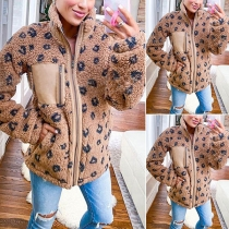 Plush High Neck Leopard Printed Long Sleeve Coat