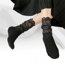 Fashion Solid Color Lace Spliced Loose Socks