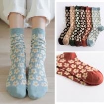 Retro Style Flower Printed Socks