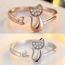 Cute Rhinestone Inlaid Cat Shaped Ring