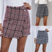 Fashion High Waist Slim Fit Plaid Skirt