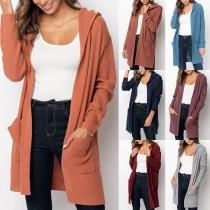 Simple Style Long Sleeve Hooded Slit Hem Loose Knit Cardigan