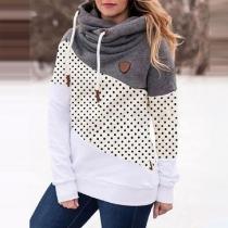 Fashion Contrast Color Dots Printed Spliced Hooded Sweatshirt