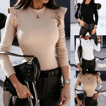 Solid Color Round Neck Long Sleeve Slim Fit Knitted Top