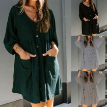 Fashion Solid Color 3/4 Sleeve V-neck Single-breasted Loose Dress