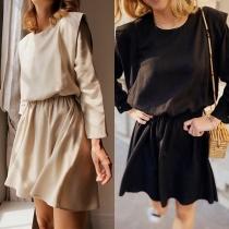 Chic Style Long Sleeve Round Neck Gathered Waist Dress