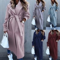 Elegant Solid Color Long Sleeve Lapel Windbreaker Coat with Waist Strap