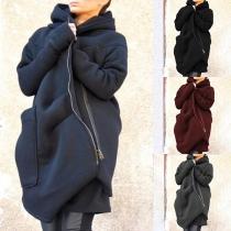 Fashion Solid Color Oblique Zipper Hooded Sweatshirt