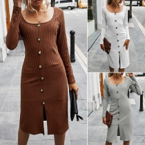 Retro Style Long Sleeve Square Collar Single-breasted Dress