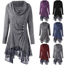 Fashion Long Sleeve Cowl Neck Lace Spliced Hem Dress