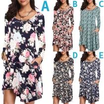 Fashion Long Sleeve Round Neck Irregular Hem Printed Dress