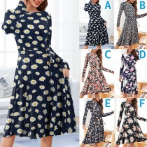 Fresh Style Long Sleeve Round Neck High Waist Printed Dress