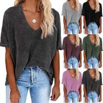 Fashion Solid Color Long Sleeve V-neck High-low Hem T-shirt