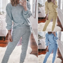 Fashion Solid Color Long Sleeve Round Neck Top + Pants Two-piece Set