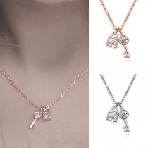 Chic Style Rhinestone Key&Lock Pendant Necklace