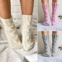 Fashion Solid Color Knit Socks