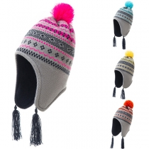 Fashion Hairball Spliced Contrast Color Printed Tassel Knitted Hat for Kids