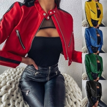 Fashion Long Sleeve Stand Collar PU Leather Jacket