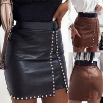 Fashion High Waist Slim Fit Rivets PU Leather Skirt