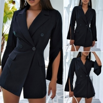 Sexy Slit Long Sleeve Notched Lapel Solid Color Thin Suit Coat