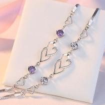 Fashion Rhinestone Inlaid Heart Bracelet
