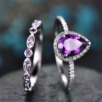 Fashion Purple Rhinestone Inlaid Ring