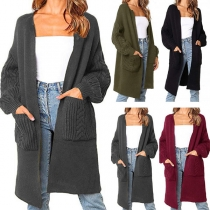 Simple Style Solid Color Lantern Sleeve Knit Cardigan