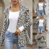 Fashion Long Sleeve Hooded Leopard Printed Cardigan