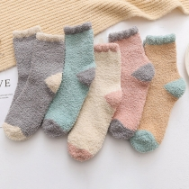 Fashion Contrast Color Plush Socks 2 pair/set
