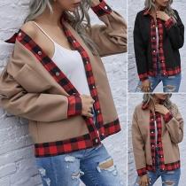 Fashion Plaid Spliced Long Sleeve POLO Collar Coat