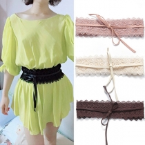 Sweet Style Solid Color Lace Girdle