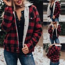 Fashion Long Sleeve POLO Collar Plush Lining Plaid Coat