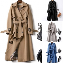 Fashion Solid Color Double-breasted Windbreaker Coat with Waist Strap