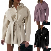 Fashion Solid Color Long Sleeve POLO Collar Woolen Coat with Waist Strap