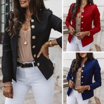 Fashion Solid Color Long Sleeve Stand Collar Single-breasted Coat