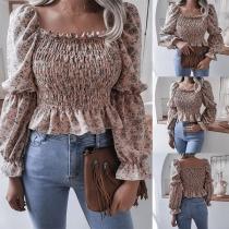 Sexy Square Collar Long Sleeve Ruffle Hem Printed Top