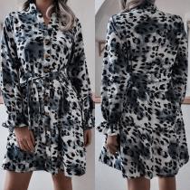 Fashion Long Sleeve Stand Collar Leopard Printed Shirt Dress