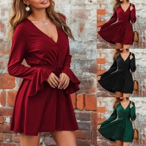 Sexy V-neck Trumpet Sleeve High Waist Solid Color Dress