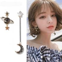 Fashion Rhinestone Inlaid Star Planet Shaped Asymmetric Earrings