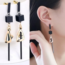 Chic Style Square&Triangle Pendant Tassel Earrings
