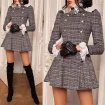 Fashion Puff Sleeve Stand Collar Double-breasted Plaid Dress