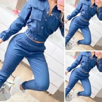 Fashion Long Sleeve POLO Collar Denim Top + Pants Two-piece Set