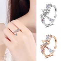 Sweet Style Rhinestone Inlaid Bow-knot Ring